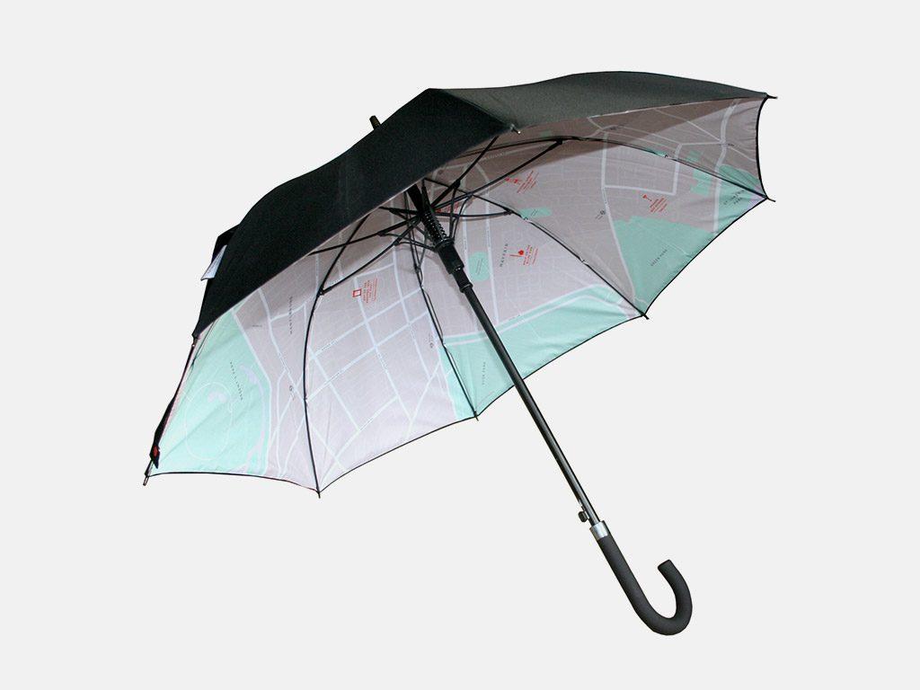 Map print on inside of umbrella