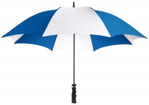 Royal blue and white golf umbrella
