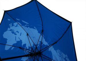 Blue umbrella with map