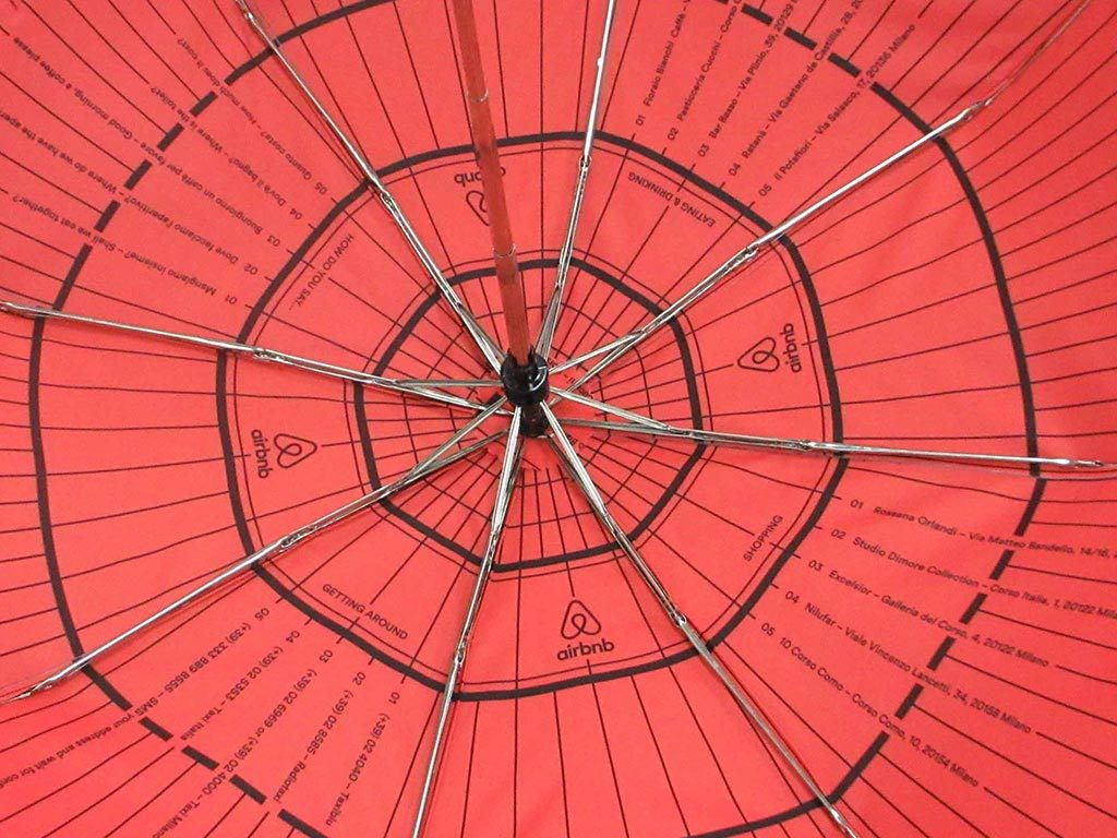 Complicated print on inside of umbrella