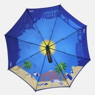 All over beach print on inside of umbrella
