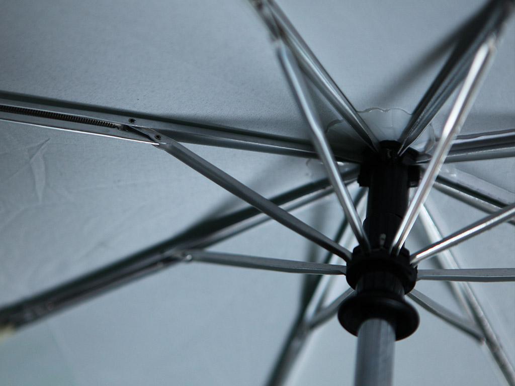 Silver ribs on umbrella