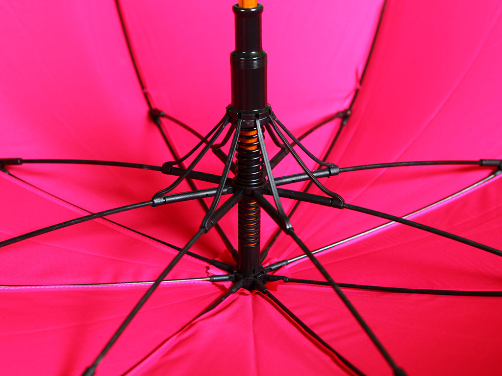 Pink umbrella with black ribs