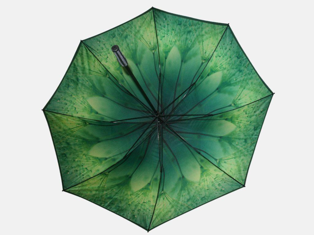 Green leaf print on umbrella