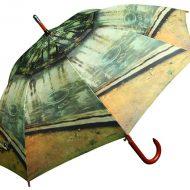 Wood Umbrella with Artwork Print