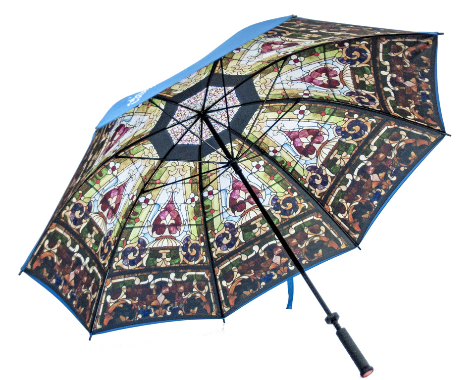 Stained glass window print on golf umbrella