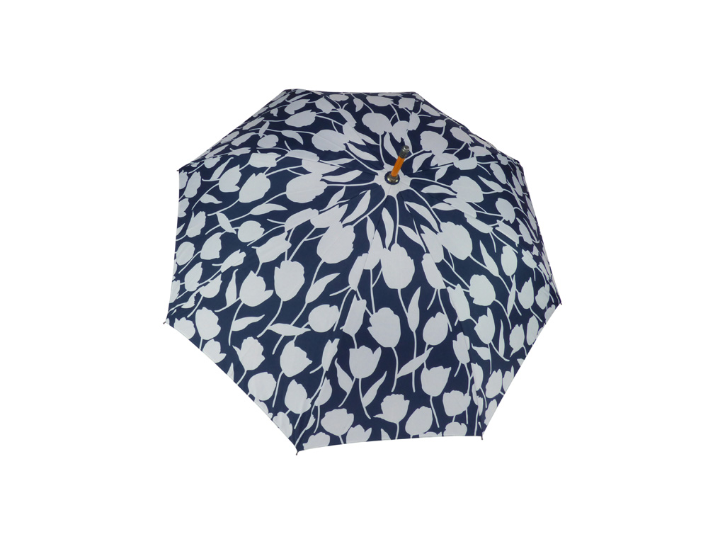 Blue and white print all over top of umbrella