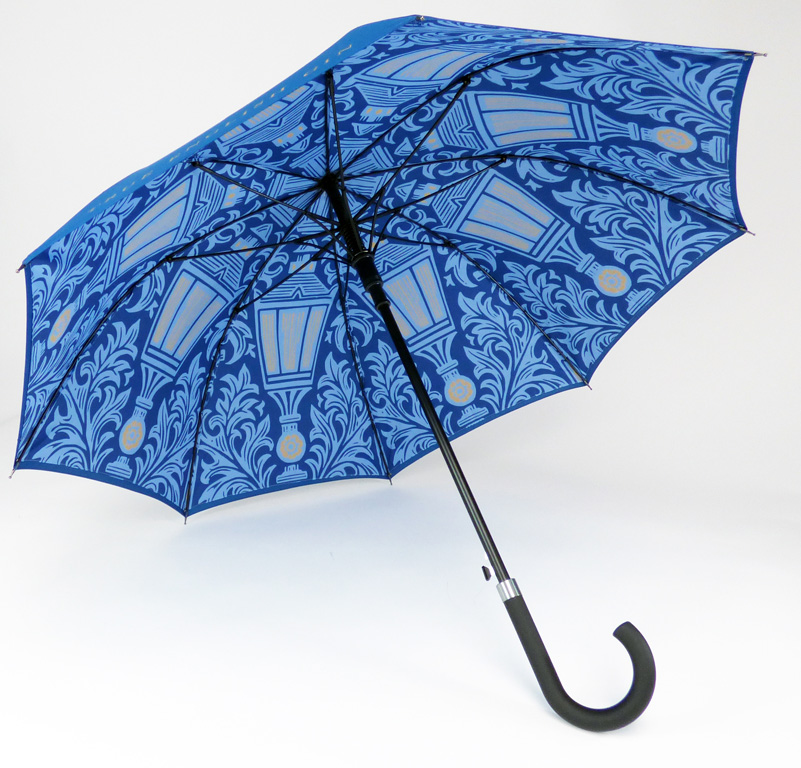 Blue internal intricate print on walker umbrella