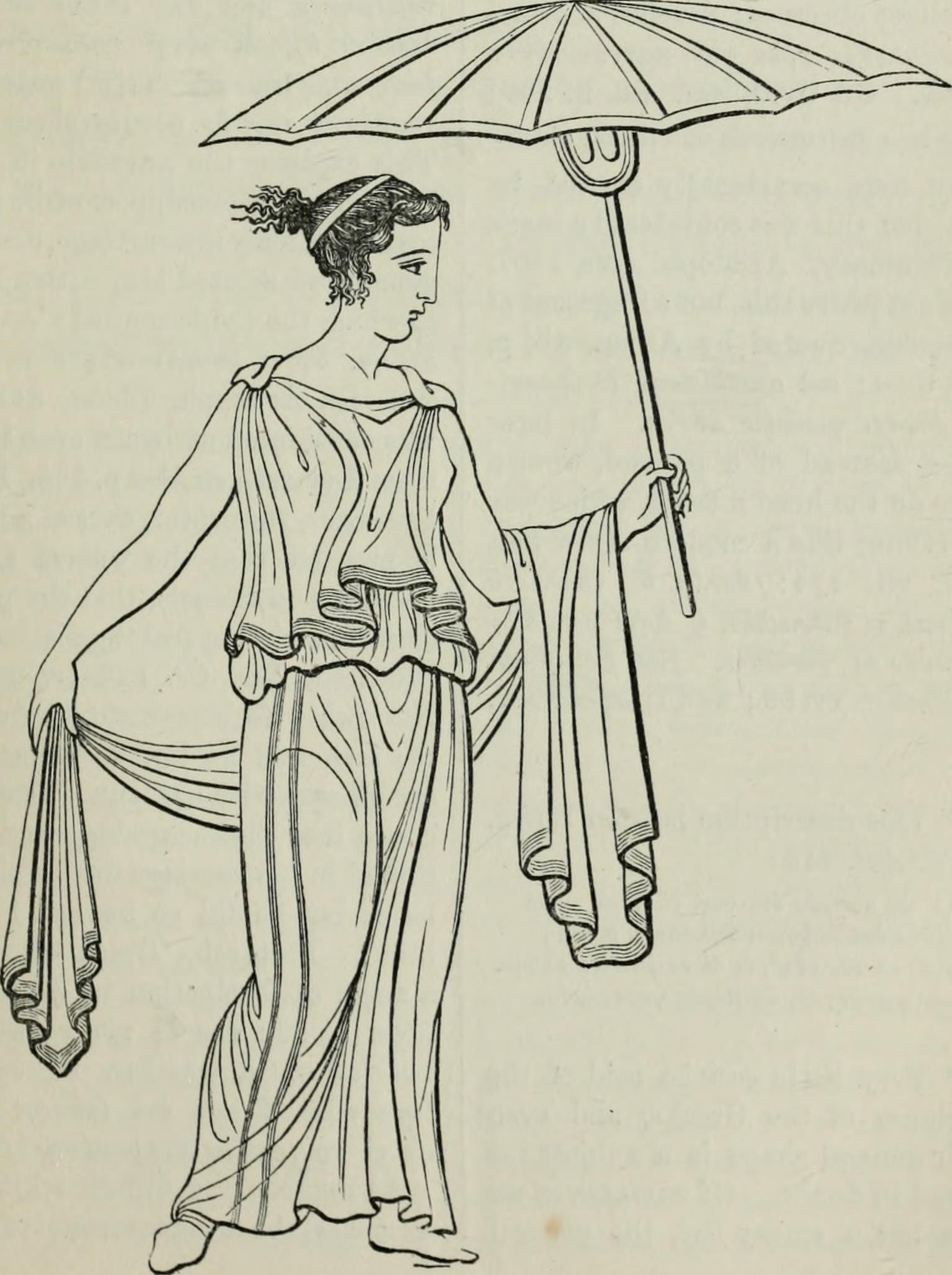 Illustration of an Ancient Greek woman with an umbrella