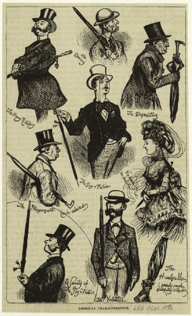 19th century cartoon depicting various umbrellas