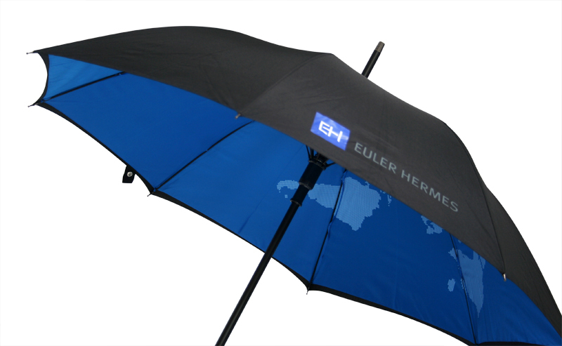 Black umbrella with contrast underside world map print