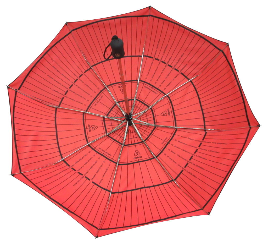 red and black internal graphically printed promotional umbrella