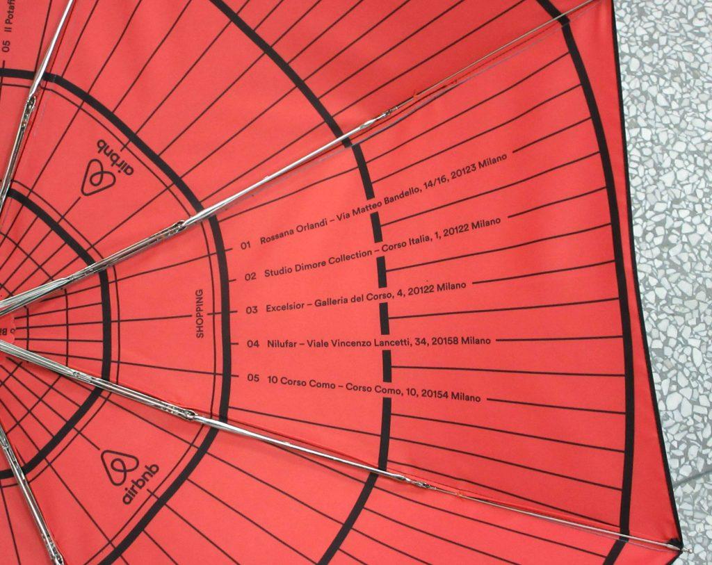 customised design underside print on branded umbrella