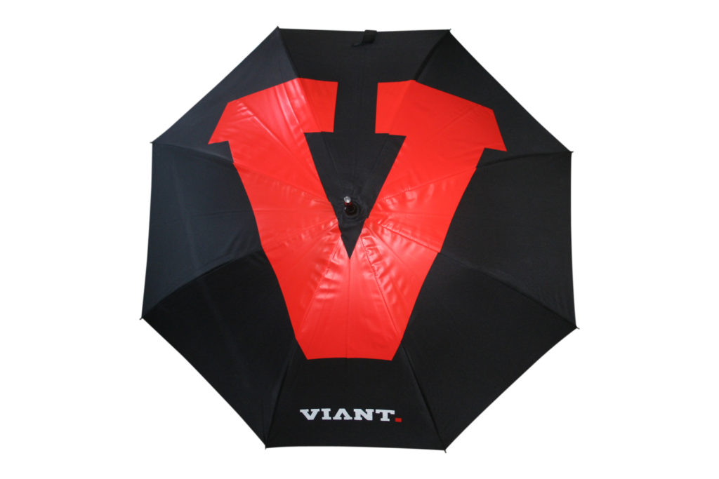 All over black and red graphic print branded umbrella