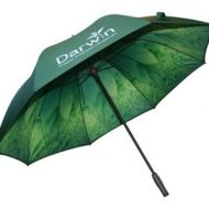 green branded digitally printed umbrella with floral print double canopy umbrella