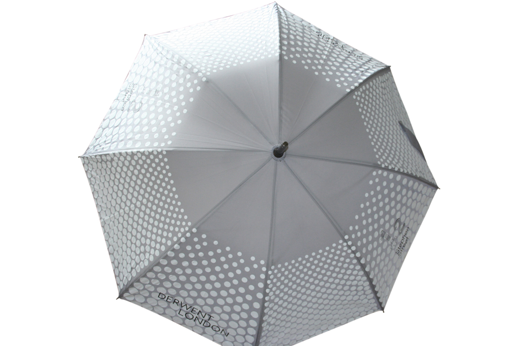 grey tonal circular screen print canopy on branded umbrella