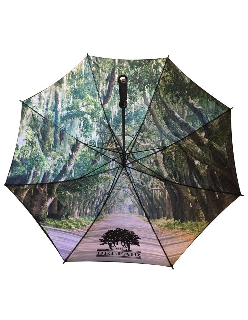 digitally printed tree arch on underside of branded umbrella