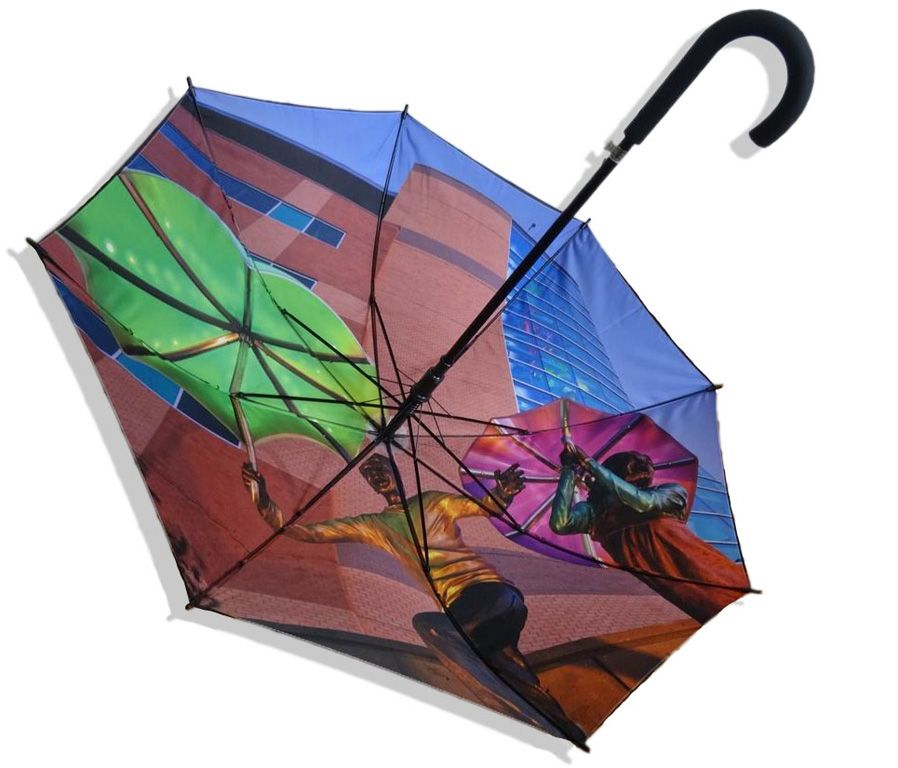 Customised digitally printed double canopy umbrella