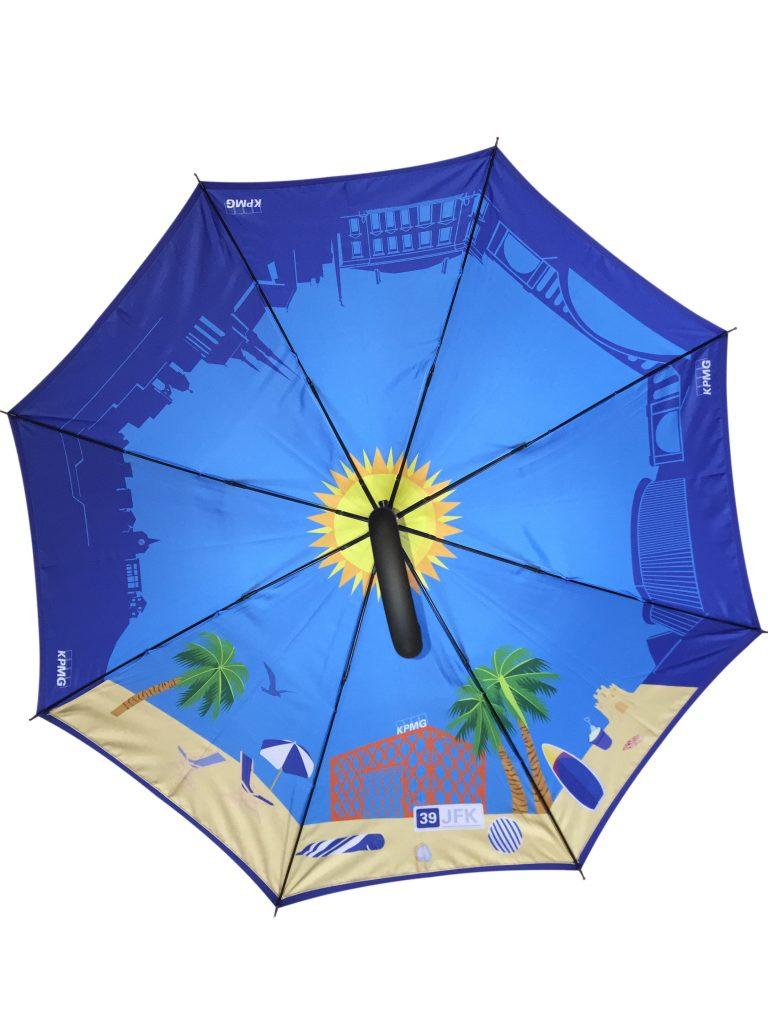 Cartoon beach scene on inside of customised umbrella
