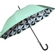 luxury branded umbrellas Mint green and white branded logo with underside geometric print promotional umbrella