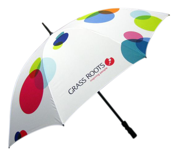 Multi coloured circular graphic printed branded umbrella