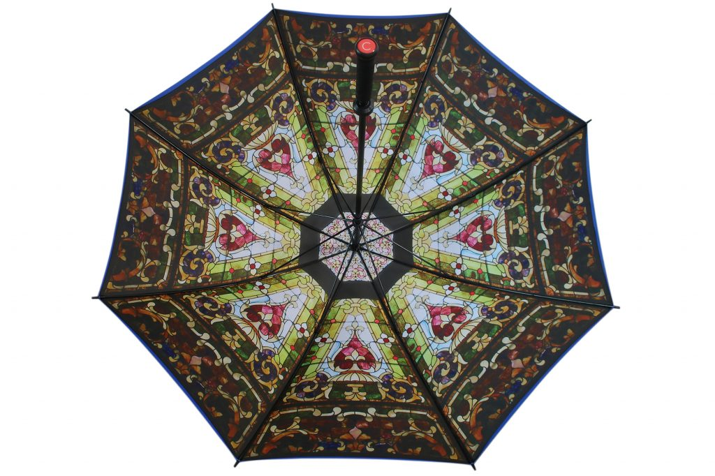 Stain glass window internal photo print on double canopy golf umbrella