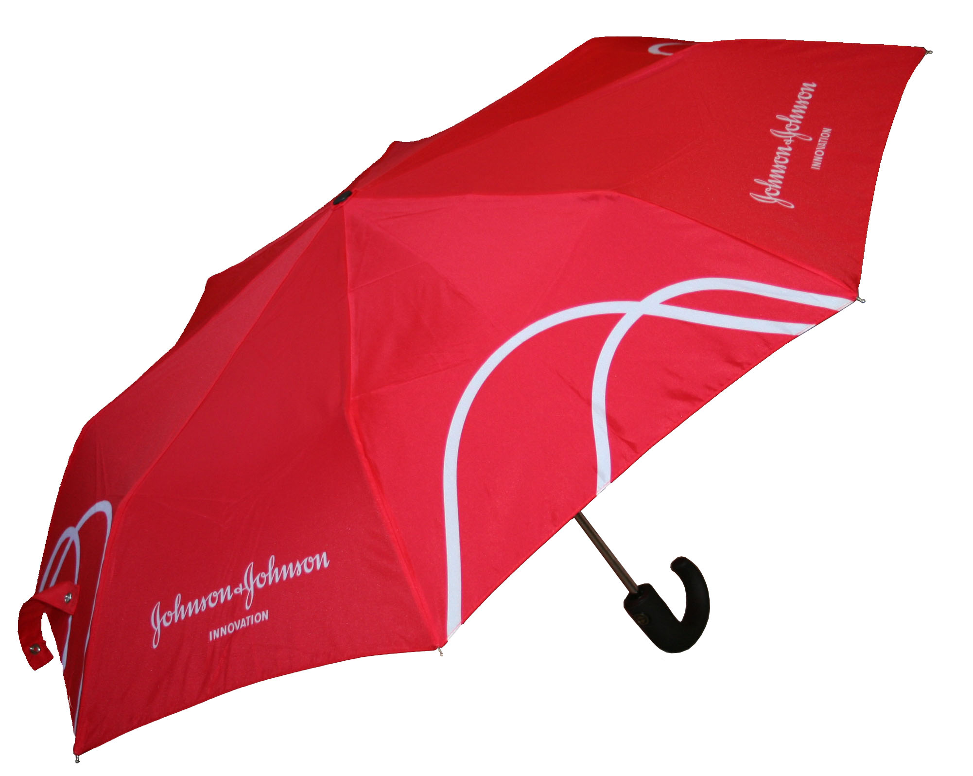 Red and white branded logo umbrella