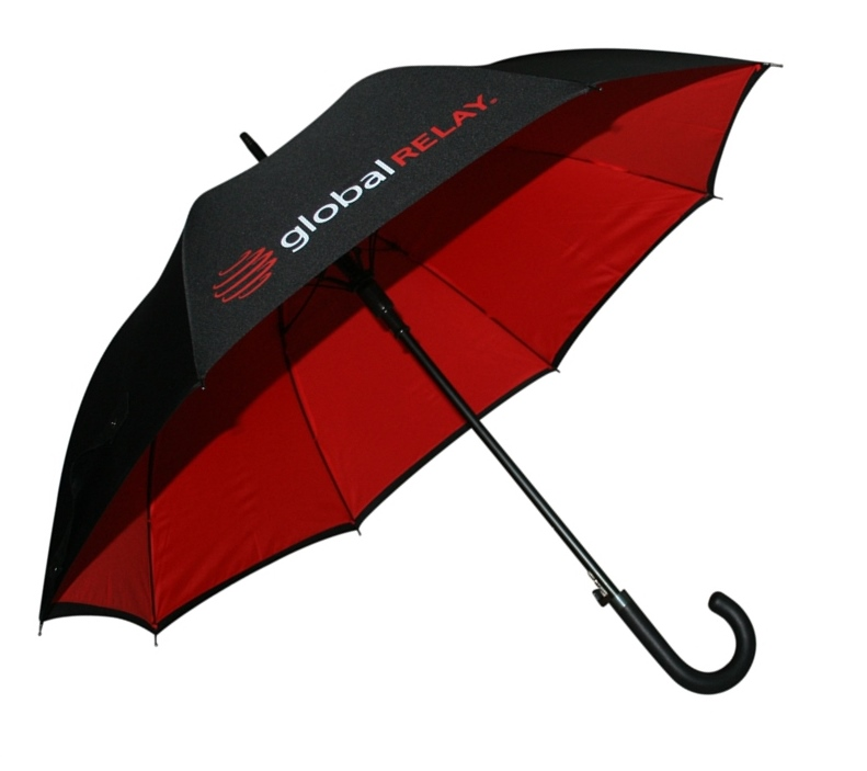 Black with red underside contrast graphic branded umbrella