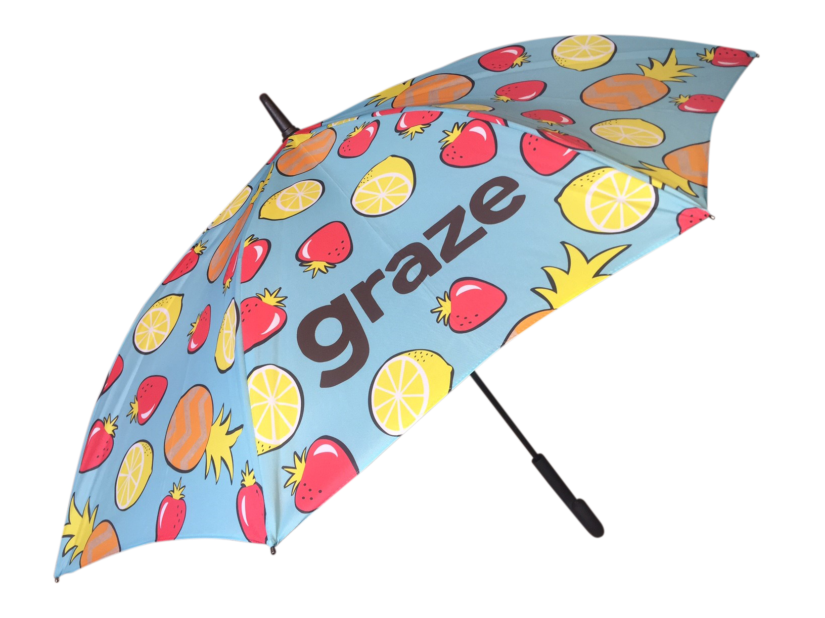 brightly printed umbrella with fruit graphics