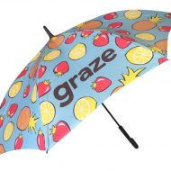 colourful fruit graphic print on customised umbrella