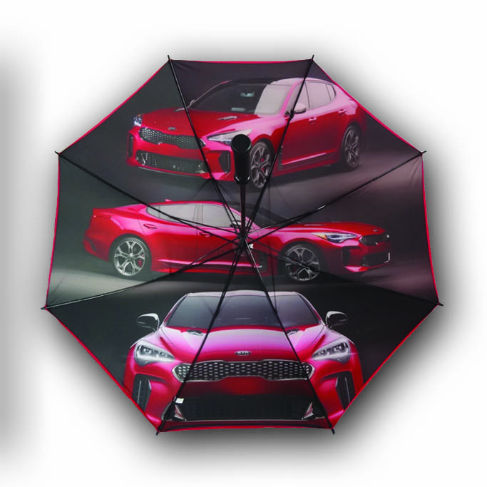 Graphic car print on underside of branded umbrella