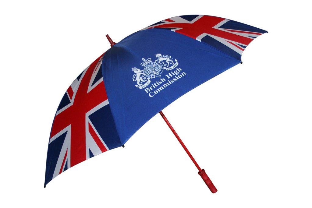 Union jack print with contrast logo on branded golf umbrella