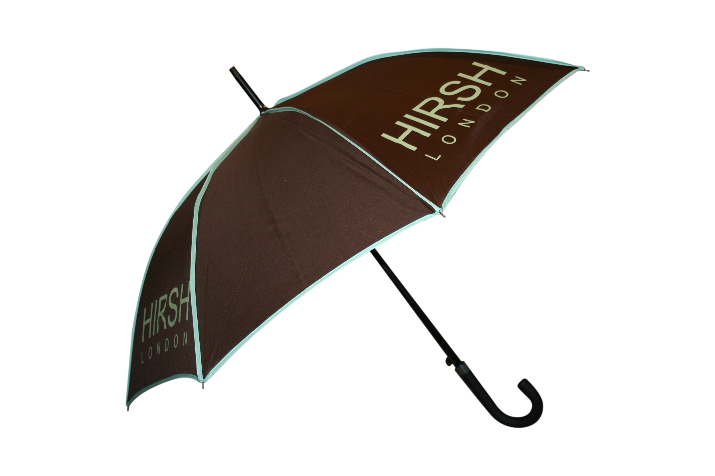 Contrast piping umbrella brown with mint green
