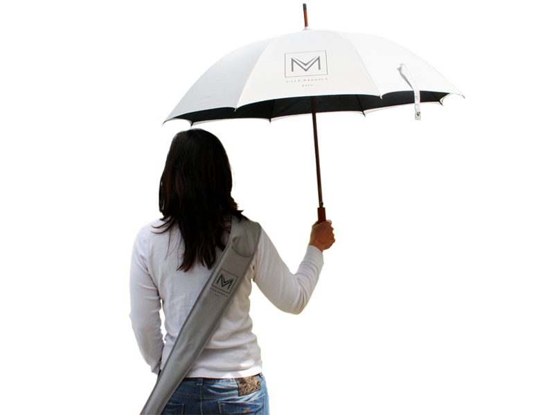 White with contrast black underside branded umbrella