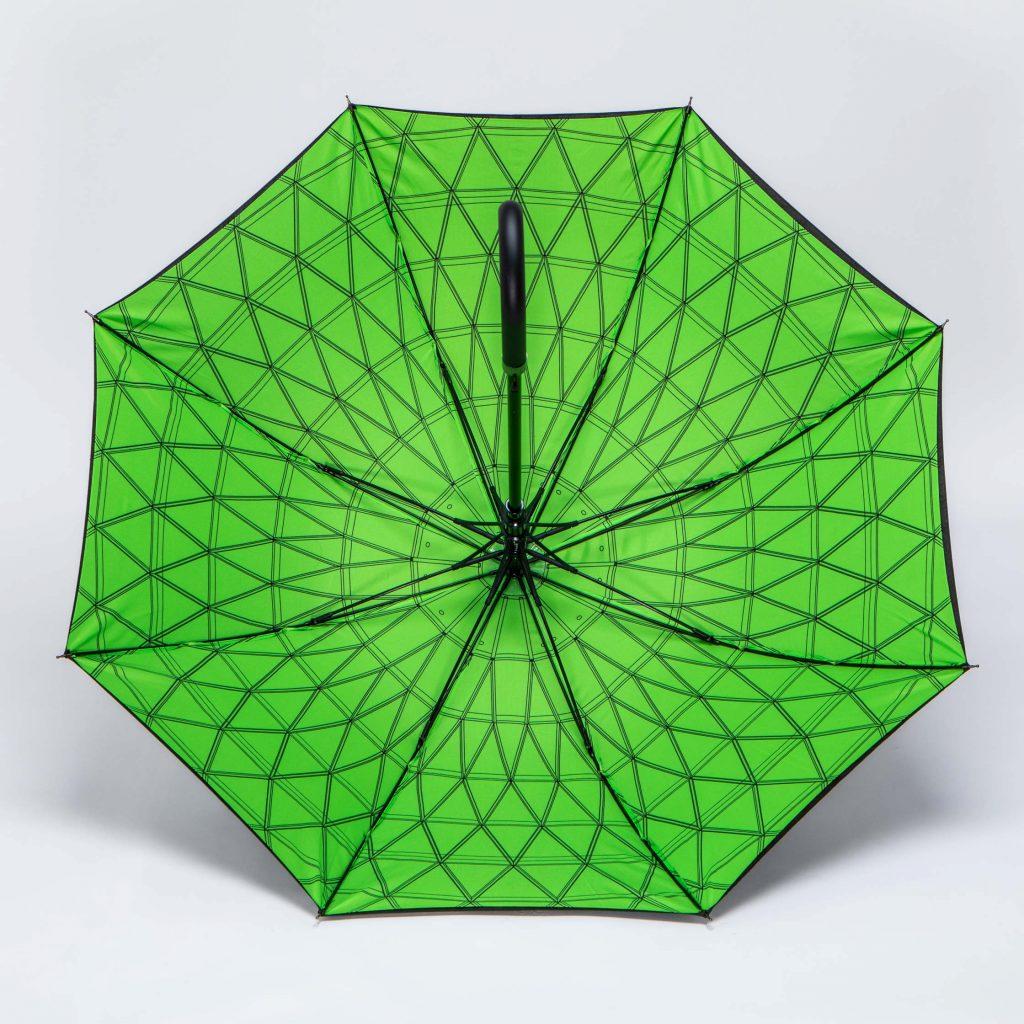 green inside print on umbrella