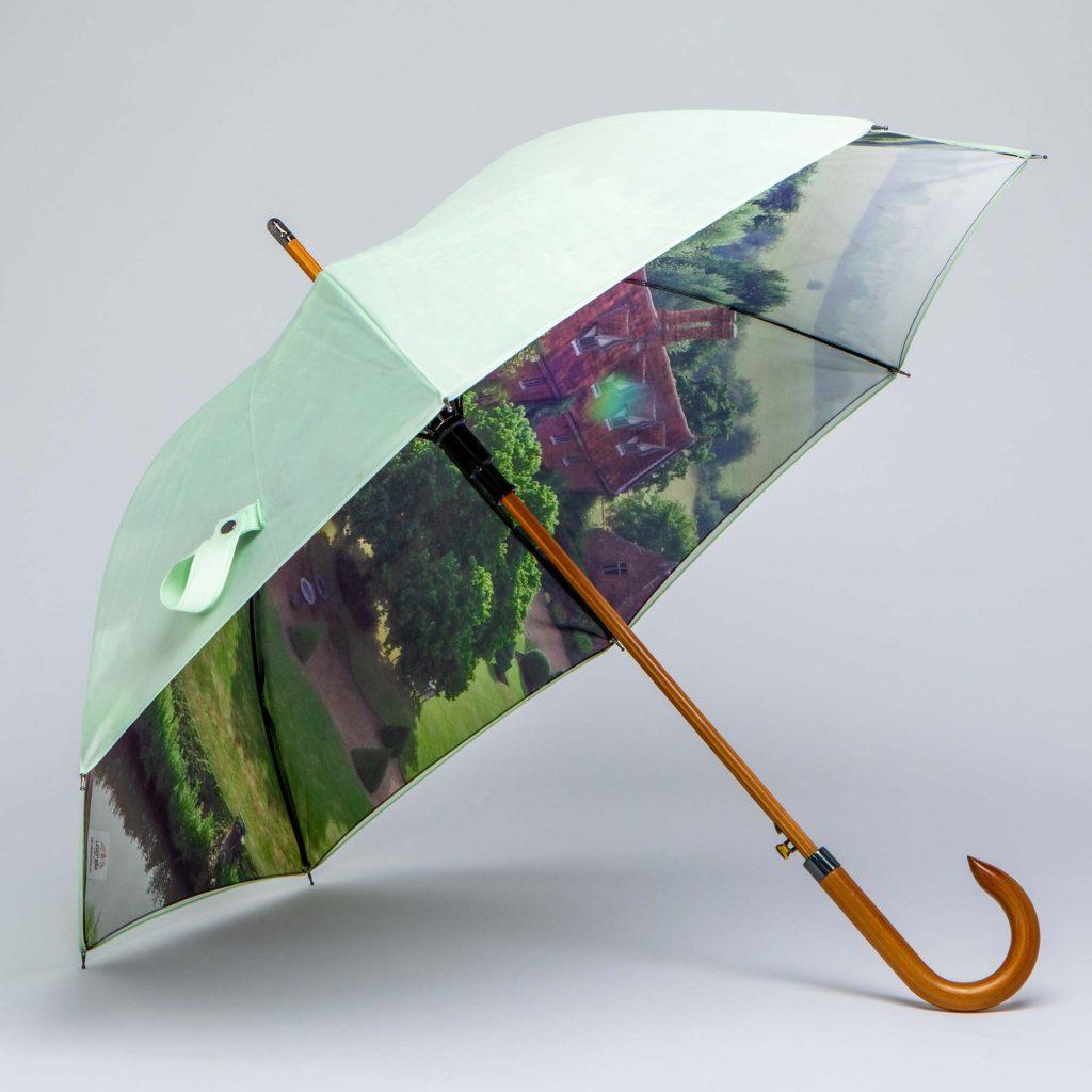 luxury wood walking umbrella with property photo print