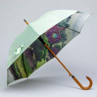 luxury wood walking umbrella with property photo print
