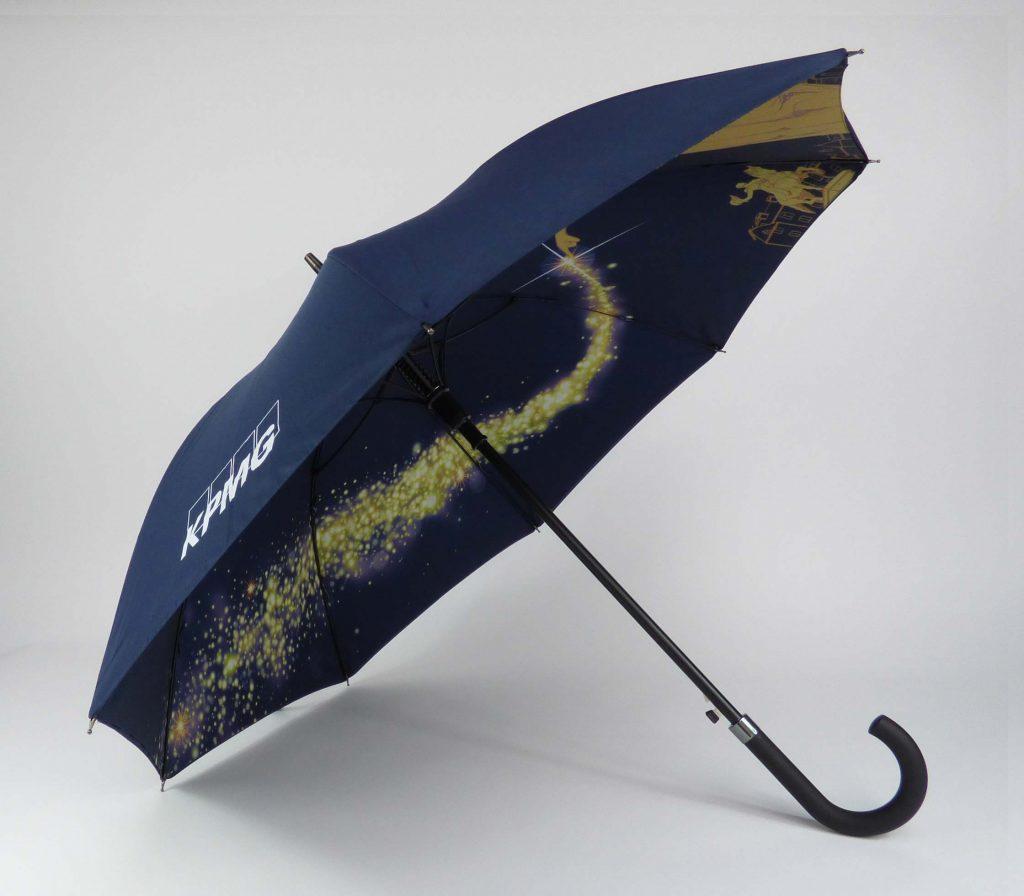 KPMG company umbrellas with internal edge to edge print
