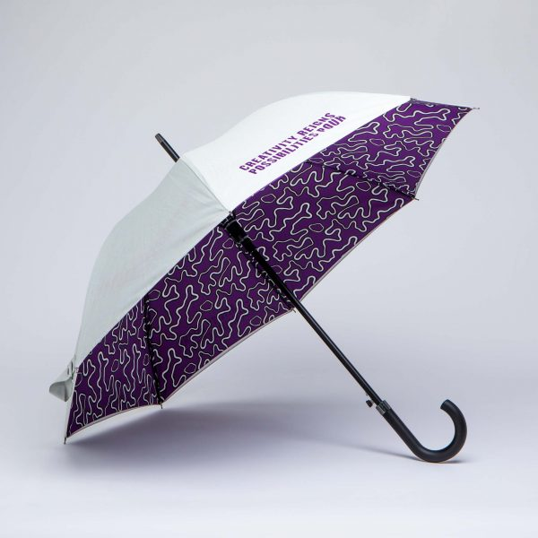 City company umbrella with complicated internal print