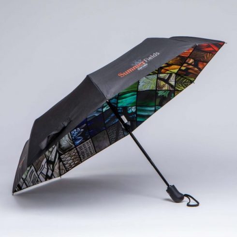 Double canopy telescopic umbrella with detailed internal print promotional umbrella