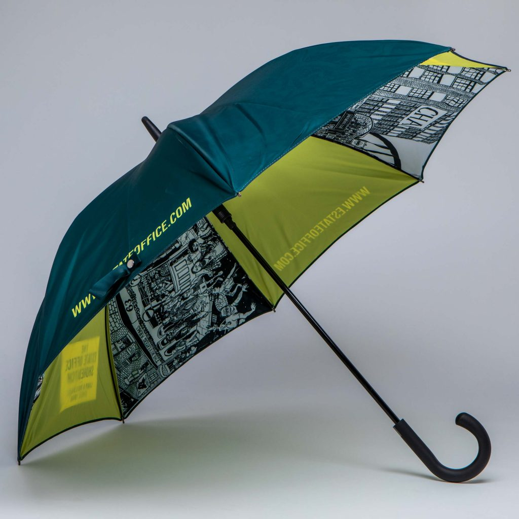 UK manufactured corporateumbrella with illustration on the inside canopy
