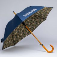 Wood stick umbrella with floral print on the inside
